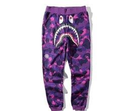 Wholesale Full Size Clothing - shark Pants Men Women Streetwear Gold Ribbon Elastic Drawstring Pants New Brand Clothing apes Sweatpants Large size 5XL