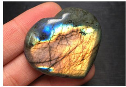 Wholesale Labradorite Heart - Labradorite Heart Stones Shaped Crystal Puffy Natural Feldspar Polished Tumbled Reiki Healing Crafts For Wedding Supplies High Quality New