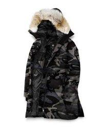 Wholesale Reversible Down Jacket - Famous Popular Army camouflage Warm Parkas Reversible Ross Down jaCanada Expedition Parkas Jacket with hooded men warm winter Raccoon Fur