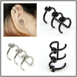 29eebe2076c Oreille percé clip oreille croix oreille clip en acier inoxydable boucle d oreille  cartilage titane acier U forme trois anneau nez clip