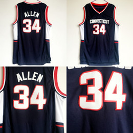 aaa5500a20e0 Men Basketball 34 Ray Allen College Jerseys Uconn Connecticut Huskies Allen  Jersey Navy Blue Color Team All Stitched For Sport Fans