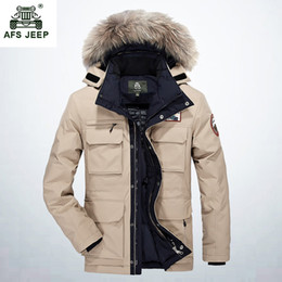Wholesale White Western Jacket - 2017 Thicken Warm Winter Duck Down Jacket for Men Fur Collar Parkas Hooded Coat Plus Size Overcoat Western Style 268wy