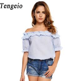Wholesale Tunic Tops Ruffles - Tengeio Summer Womens Tops And Blouses Short Sleeve Casual Ruffle Off Shoulder Top Fashion Boho Striped Shrit Tunic Tops S2