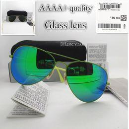 Радужные очки в рамке онлайн-Солнцезащитные очки класса люкс высшего качества Мужчины Женщины Зеркало Стеклянная линза UV400 Металлическая рамка Vintage Classic 58MM Солнцезащитные очки Rainbow Eyewear With Box