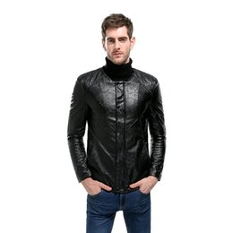 Wholesale Leather Motorcycle Suits - 017 New black PU printing Leather Dress Blazers Mens Suit Jacket Casual Slim Motorcycle Autumn Faux Leather Suit Homme z30