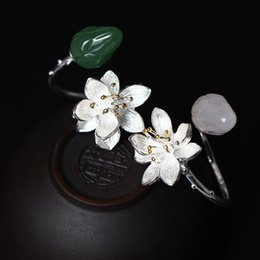 Wholesale Plant Powder - S925 pure silver the ring of flowers National style jade powder crystal lotus ring Women's ornament wholesale green jade jewelry