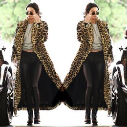 Pele de estrela on-line-Nova moda inverno estrela das mulheres mesmo estilo turn down collar manga comprida maxi longo leopardo casaco de pele sintética parka abrigos casacos