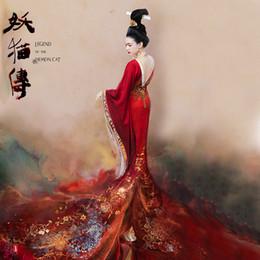 2019 katze dämon Tang Princess Yang Red Stickerei Wunderschönes Hanfu Kostüm für Chen KaiGe Film Legend of the Demon Cat Long Tail Hanfu günstig katze dämon