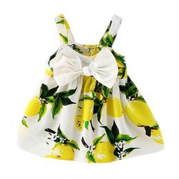 Наколенники онлайн-Длина до колен рукавов лук платье милый лимонный узор новый детское платье девушки одежда скольжения младенческой девушки платья для принцессы день рождения