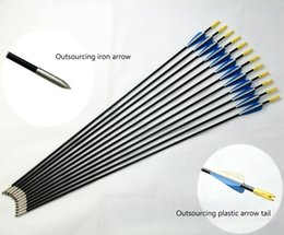Wholesale Points For Arrows - 2018 New Plastic Blade Fiberglass Non-Replaceable Arrows with Field Points Tips for Changing Curves Bows and Composite Bows