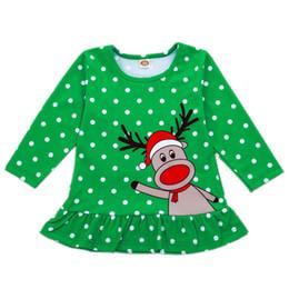 baby weihnachten rentier hut Rabatt Baby Weihnachten Rüschen Kleid neugeborenes Baby Mädchen Designer Kleidung Punkte Rentier Santa Hut Elch appliziert sticken Lotus Leaf Mini Kleider 6M-5 t