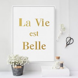 Wholesale Life Quotes Painting - Modern Minimalist French Gold Beautiful Life Quotes A4 Large Canvas Art Print Poster Wall Pictures Home Decor Painting