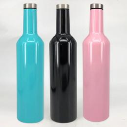 Pallone in acciaio inox rosso online-Bottiglia di vino rosso in acciaio inox da 25 once Bottiglia di vino da 750 ml con tappo Bottiglia di birra a doppia parete con tappo a tenuta d'aria