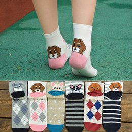 Wholesale Cute Couple Animals Cartoon - Wholesale- 2017 High Quality Cute Dog Animals 3D Socks Couple Cartoon Cotton Women Socks Dogs Stereoscopic Funny Happy Popular Style