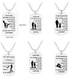 Wholesale Custom Letter Pendant - DAD MOM TO MY SON TO MY DAUGHTER Pendant Necklaces Personalized Custom Military Dog Tags Pendant Gift - Never Forget That I Love You