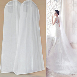 Wholesale large bridal gowns - Bridal Gown Long Clothes Protector Case Wedding Dress Cover Extra Large Garment Dustproof Covers Storage Bag Hogard