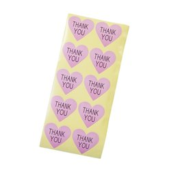 Wholesale Paper Packaging Products - 100pcs lot Thank you Romatic pink Heart Paper Sticker for Handmade Products package label