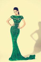 2019 kim kardashian sexy grünes kleid Abendkleid 2018 Charbel zoeYousef aljasmi Kim kardashian Kurzarm Grüner O-Neck Perlen Mermaid Langes Kleid ZuhLair Murad Ziadnakad günstig kim kardashian sexy grünes kleid