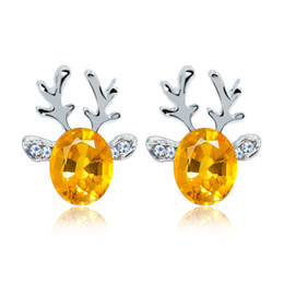 orelhas de rena Desconto Brinco de cristal brincos de chifre de jóia Luxuoso de natal rena brincos para senhoras prego de gemstone