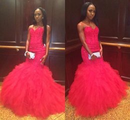Wholesale White Crystal Puffy Cocktail Dress - Sexy Black Girl Prom Dresses Sweetheart Appliques Lace Beaded On Top Mermaid Puffy Red Evening Dresses Wear Formal Cocktail Party Dress