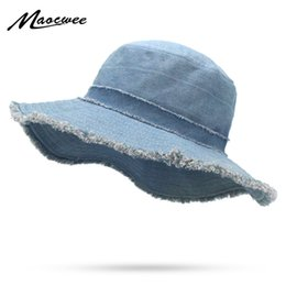 fashionable hats men Promo Codes - Womens Denim Bucket Hat Male Korean Style Casual Cowboy Fishing Caps Fashionable Spring Summer Cool Jeans Tassel Sun Hats