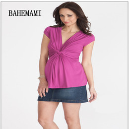Wholesale Top Dress For Pregnant - BAHEMAMI Maternity top Summer Wear New Pregnant Woman tees V Neck Short Nursing Dress for Pregnant Women Office Lady Vestidos
