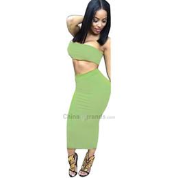 Wholesale tube top dress skirt - Sexy Pure Color Tube Top +High Waist Skinny Midi Skirt Women Two Piece Dress