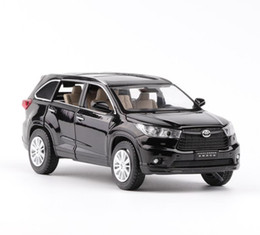 Wholesale Flash Doors - High simulation Toyota Highlander 1:32 scale alloy pull back car model diecast metal toy vehicles musical&flashing 6 open doors suv