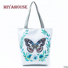 9e212cd51d Butterfly Printed Casual Tote Large Capacity Female Handbags Single  Shoulder Shopping Bags Daily Use Women Canvas Beach Bag
