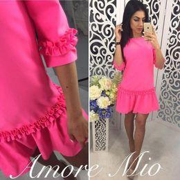 Wholesale Shift Dress Wholesale - 2018 Spring Autumn New Style Women Casual Half Sleeve O-neck Ruffles Shift Pink Dress 2018 Mini Straight Dresses Plus Size