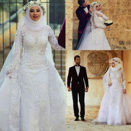 89808fdbaf 2019 Muslim Long Sleeves Lace Sheath Wedding Dresses Arabic Islamic Hijab Wedding  Gowns High Neck Applique Bridal Gowns With Long Train