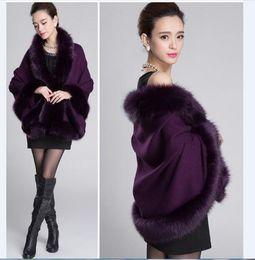 Wholesale Faux Collar Sweater - New Women's Loose Shawl Cloak Cardigan Sweater Wrap Cape Faux Fur Cloak Coat