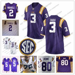 Wholesale russell football jersey - LSU Tigers #3 Kevin Faulk 80 Dwayne Bowe 76 Andrew Whitworth 2 JaMarcus Russell White Purple Yellow Limited Stitched College Football Jersey