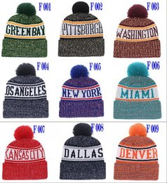 2018 New Football Berretti invernali Sideline Sport Knit Hats Dallas New York Pom Pom Beanie Team Maglieria Mix Match Ordine Tutti i cappucci dei teschi da