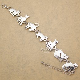 Wholesale Silver Ring Singapore - whole saleBastet Cat Kitten Pet Charm Chain Link Bracelets for Women Bangles Gift Party Indian Jewelry Pulseira Feminina Dropshipping