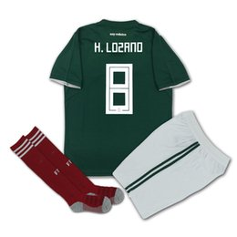 Wholesale Wholesale Jersey Shorts - DHL Free Shipping 2018 World Cup Jersey MEXICO Home Green Away White Complete Kit Layun Include Shirt and Short and Socks Accept Customized2