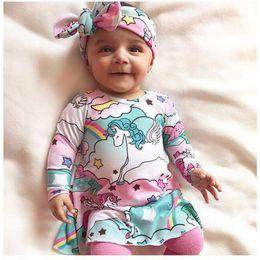 d4e87f028c6d Pink Unicorn Baby Girls Dress And Headband Set Boho Clothing Unicornio  vestido infantil Newborn Baby vestidos Boutique baby Girl clothes