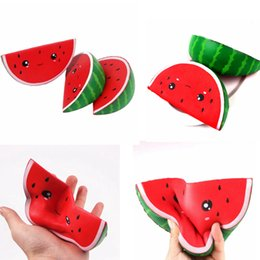 Wholesale Soft Toy Fruits - PU Squishy Smile Watermelon Soft Fruits Jumbo Scented Squeeze Slow Rising Simulation Bread Kids Toys Relieve Stress Toy AAA189