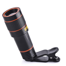 Wholesale Mobile Phones Telescope Camera 12x - 12X Optical Zoom HD Telescope Camera Lens Clip for iPhone Samsung Huawei Universal Mobile Phones lens