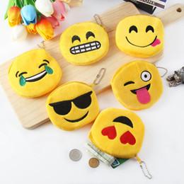 Geldbörse gelb online-Lächeln-Gesichts-Karikatur-Münzen-Mappen-Pers5onlichkeit-Kopfhörer-Beutel-Reißverschluss-Geschenke Emoji Lächeln-kleines gelbes QQ Ausdruck-angefülltes Spielzeug für Beutel-Anhänger