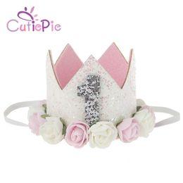 Wholesale Fashion Craft Supplies - CUTIEPIE Handmade Fashion Mini Felt Glitter Crown with Flower Headband For Birthday Party DIY Crafts Hair Decorative Supplies