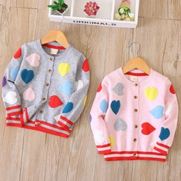 Wholesale Childrens Sweaters Knitted - kids girls sweaters heart pink gray childrens cardigan knitted outwear 100-110-120-130-140 5pcs lot new design 2018spring autumn