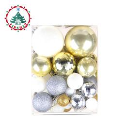 50pc / sset all'ingrosso oro bianco palle albero di natale decorazione ornamenti palla accessori ciondolo decor per natale festa a casa da