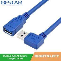 Angle câble d'extension usb en Ligne-90 degrés à gauche angle droit USB 3.0 angle standard mâle à femelle AM à AF connecteur de rallonge connecteur de données de câble 30cm 1ft 0.3m