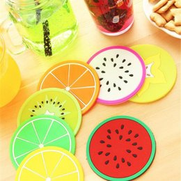 Wholesale wholesale dining placemats - Non-slip Fruit Placemat Cup Mat Pads Coffee Mug Drink Coasters Dining Table Placemats Desk Kitchen Accessories