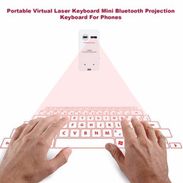 Wholesale Projection Mobiles - Portable Bluetooth Wireless Virtual Laser Keyboard Mini Bluetooth Projection Keyboard for Windows For Mobile Phones white