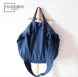 Borse blu carino online-2018 Nuove donne Causali Borse Ladies Denim Handbag Borse a tracolla grandi Blue Jeans Tote Mujer Bolsa Cute Designer Donna Big Vintage