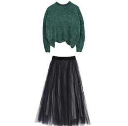 Wholesale Осень и зима чистая красный с милые дамы костюм мода прилив свитер топ с пряжей юбка милая девушка из двух частей