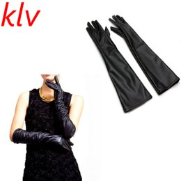 1343a278830b Chinese KLV Fashion Winter Warm Solid Women Genuine Leather 47 cm Super Long  Evening Gloves Female