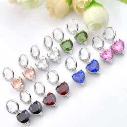 Wholesale rainbow silver crystal earrings - Multi-color optiona 6Pairs 1 Lot Classic Heart Rainbow Fire Mystic Topaz Gems 925 Sterling Silver Plated Drop Earrings Russia Canada Drop E